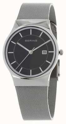 Bering 男士黑色表盘银色表带 11938-002