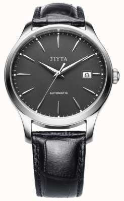 FIYTA 男士黑色皮革表带灰色表盘 WGA1010.WHB