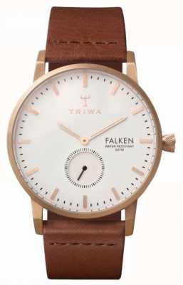 Triwa 中性falken棕色真皮表带白色表盘 FAST101-CL010214