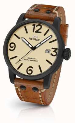 TW Steel 男士棕色真皮表带奶油表盘 MS41