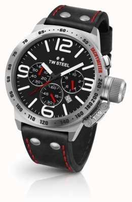 TW Steel 男士食堂黑色表盘黑色皮革表带 CS10