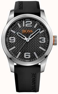 Hugo Boss Orange 男士巴黎黑色橡胶表带黑色表盘 1513350