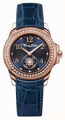 Thomas Sabo 女人蓝色皮革表带蓝色表盘 WA0216-270-209-33