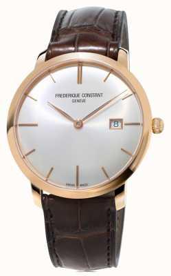Frederique Constant 男士超薄自动棕色皮革表带 FC-306V4S4