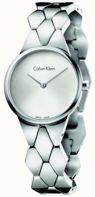 Calvin Klein 女士蛇不锈钢表链银手镯 K6E23146