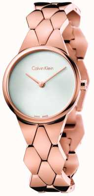 Calvin Klein 女士蛇玫瑰金pvd手链银色表盘 K6E23646