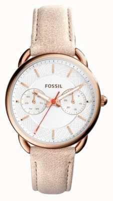 Fossil 女装裁缝浅棕色皮革表带 ES4007