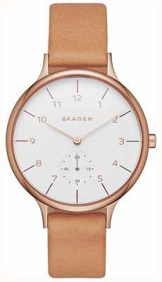 Skagen 女装anita棕色真皮表带白色表盘 SKW2405