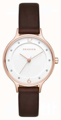 Skagen 女装anita棕色真皮表带白色表盘 SKW2472