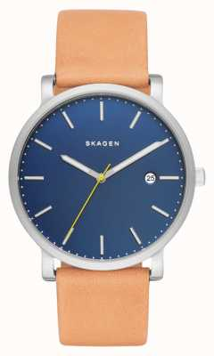 Skagen 男士哈根棕色真皮表带蓝色表盘 SKW6279