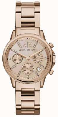 Armani Exchange 女人玫瑰金计时表盘玫瑰金金属表带 AX4326