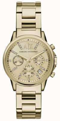 Armani Exchange 女子计时码表金色金属表带 AX4327