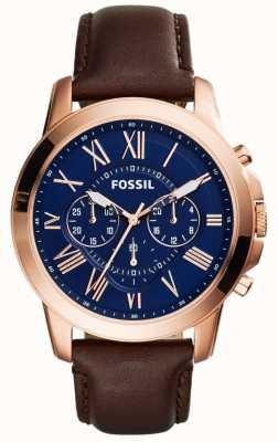 Fossil 男士海军计时码表盘棕色皮革表带 FS5068