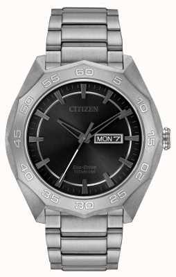 Citizen 男士钛表链黑色表盘 AW0060-54H