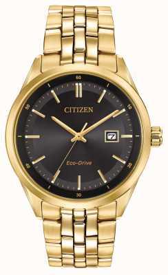 Citizen 男士镀金手链黑色表盘 BM7252-51E