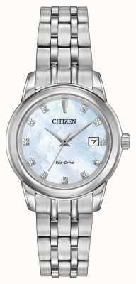 Citizen 女式11钻石不锈钢手链珍珠母贝 EW2390-50D