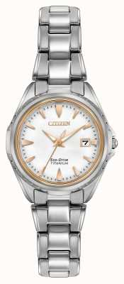 Citizen 女式钛金手镯白色表盘 EW2410-54A