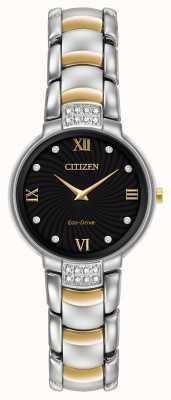 Citizen 女式24颗钻石双色手镯黑色表盘 EX1464-54E