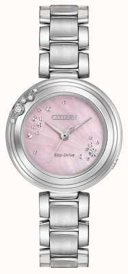 Citizen 女装生态驱动六颗钻石粉红色表盘wr50 EM0460-50N