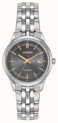 Citizen 蓝宝石水晶女士精钢表 EW2400-58H