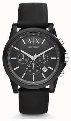 Armani Exchange 男士黑色硅胶表带黑色计时表盘 AX1326