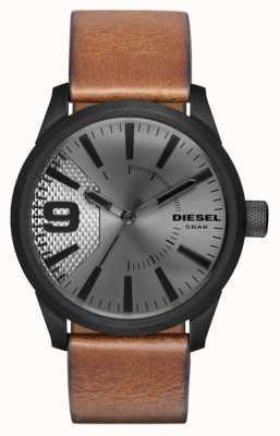 Diesel 男士棕色真皮表带银色表盘黑色表壳 DZ1764
