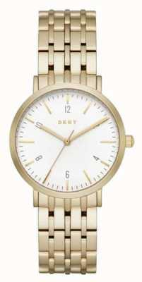 DKNY 女士不锈钢金色网眼表带圆形白色表盘 NY2503