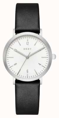 DKNY 女士黑色皮革表带圆形白色表盘 NY2506