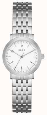 DKNY 女士不锈钢银色网眼表带圆形白色表盘 NY2509