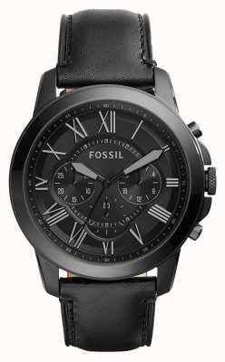 Fossil 男士黑色真皮表带黑色计时表盘 FS5132