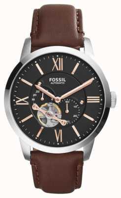Fossil 男士棕色真皮表带黑色计时表盘 ME3061