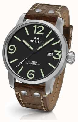 TW Steel 男士特立独行的棕色真皮表带黑色表盘 MS11