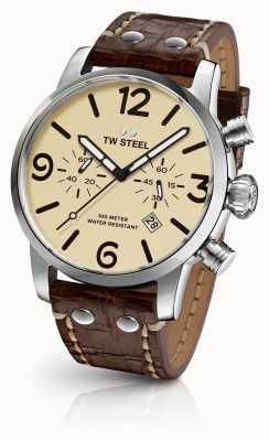 TW Steel 男士特立独行的计时码表棕色真皮表带奶油表盘 MS23