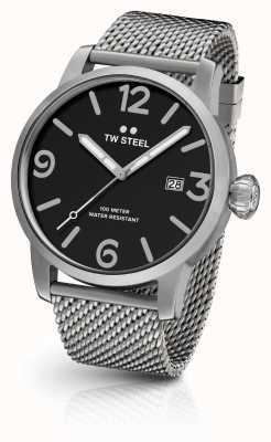 TW Steel 男士特立独行的网状表带黑色表盘 MB11
