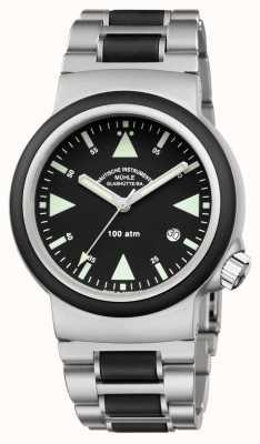 Muhle Glashutte Sar救援计时器不锈钢带黑色表盘 M1-41-03-MB