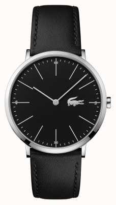 Lacoste 男士黑色皮表带黑色表盘钢表壳 2010873