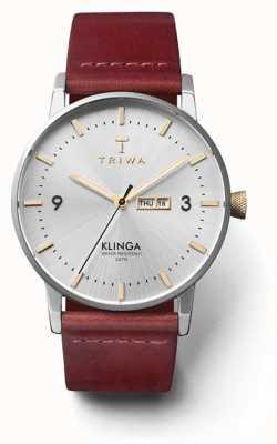 Triwa 中性闪耀klinga棕褐色真皮表带银色表盘 KLST104-CL010312
