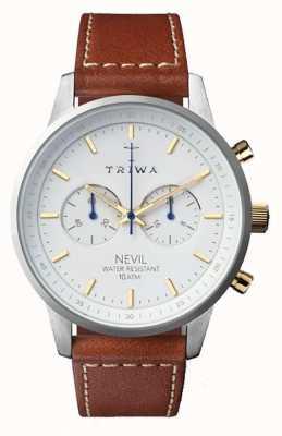 Triwa 男士雪地黑色棕色皮革表带白色表盘 NEST115-SC010215