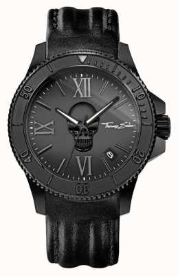 Thomas Sabo 男士反叛图标黑色皮革表带黑色钢质表壳 WA0278-213-203-44