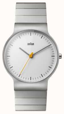 Braun 男士不锈钢表链白色表盘 BN0211SLBTG
