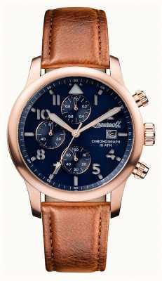Ingersoll 男装发现哈顿棕色皮革表带蓝色表盘 I01502