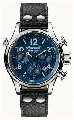 Ingersoll 男士们发现了阿姆斯特朗黑色皮革表带蓝色表盘 I02001