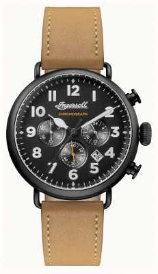 Ingersoll 男士编年史特伦棕色皮革表带黑色表盘 I03502