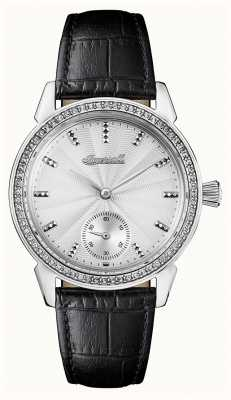 Ingersoll 女装纪事宝石黑色真皮表带银色表盘 I03701