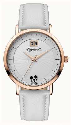 Disney By Ingersoll 女装结合迪士尼白色皮革表带银色表盘 ID00502