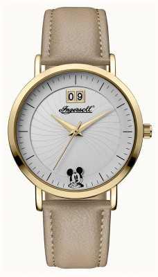 Disney By Ingersoll 女装联盟迪士尼米色真皮表带银色表盘 ID00503