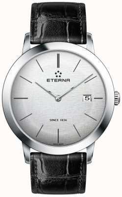 Eterna 男士石英银色拉丝表盘黑色皮质表带 2710.41.10.1383