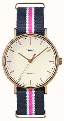 Timex 女子周末费尔法克斯海军粉红色表带 TW2P91500
