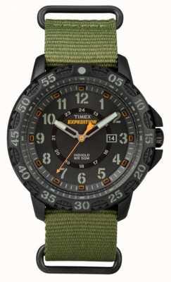 Timex 男士松紧绿色织物表带黑色表盘 TW4B03600