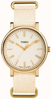 Timex 中性奶油色拨号奶油织物表带 TW2P88800